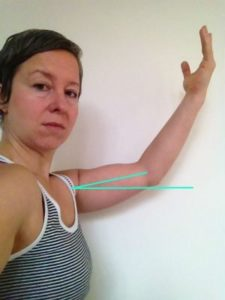 There's the true angle of shoulder flexion I've achieved.  Maybe 15 degrees?